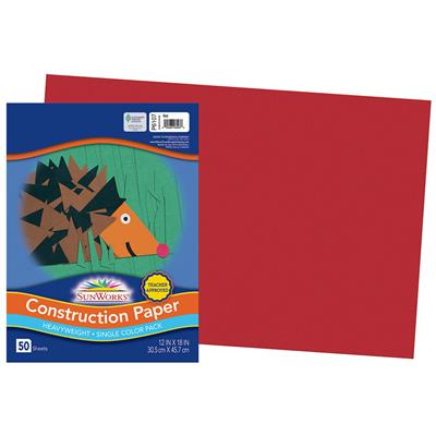 "SunWorks Construction Paper, 12"" x 18"", Red, 50 Sheets"