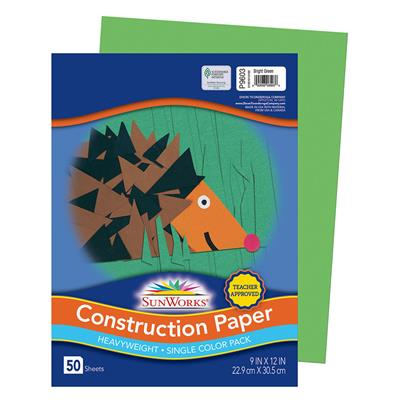 "SunWorks Construction Paper, 9"" x 12"", Bright Green, 50 Sheets"