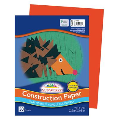 "SunWorks Construction Paper, 9"" x 12"", Orange, 50 Sheets"