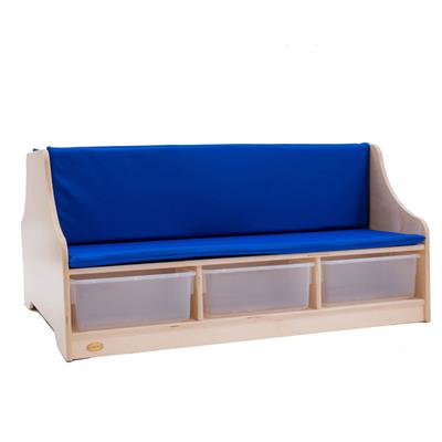 Double-Sided Reading Bench with Clear Bins