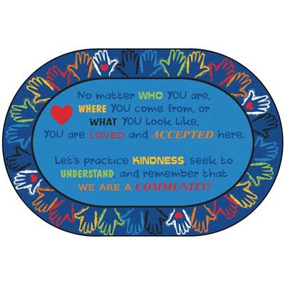Hands Together Community Rug, 6' x 9', Oval