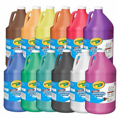 Crayola Washable Tempera Paint, 3.8 L, Set of 12