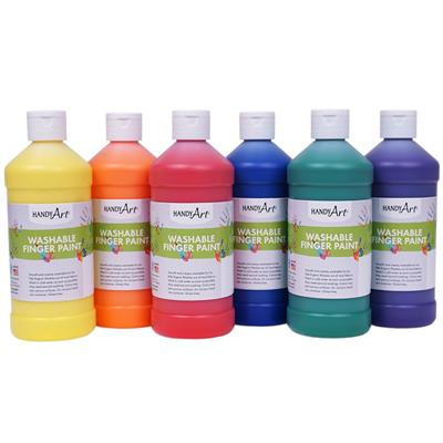 Washable Finger Paint, 473 ml, Assorted, Set of 6