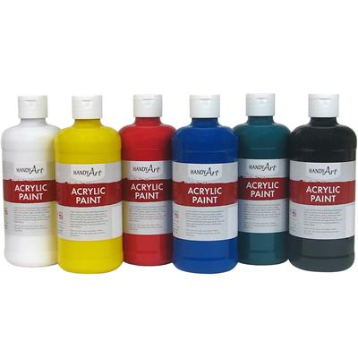 Acrylic Paint, 473 ml, Assorted, Set of 6