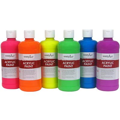 Acrylic Paint, 473 ml, Fluorescent, Set of 6