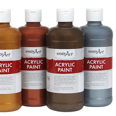 Acrylic Paint, 473 ml, Metallic, Set of 6