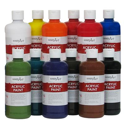 Acrylic Paint, 473 ml, Assorted, Set of 12