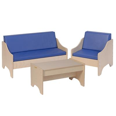 Couch & Chair Set with Table, 3 Pieces