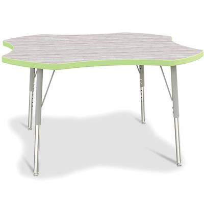 "Berries Adjustable Table, 42"", Four Leaf, Driftwood with Key Lime, 15""-24"" High"