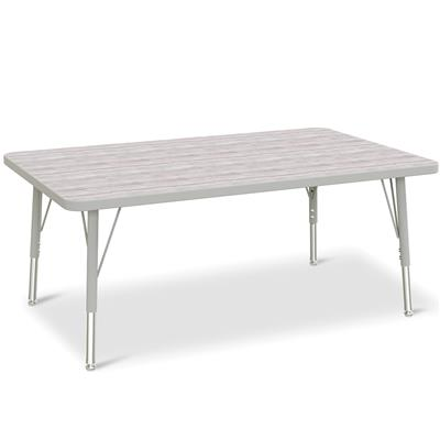 "Berries Adjustable Table, 30"" x 48"", Rectangle, Driftwood with Grey, 15""-24"" High"