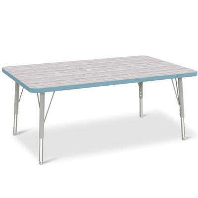 "Berries Adjustable Table, 30"" x 48"", Rectangle, Driftwood with Coastal Blue, 15""-24"" High"