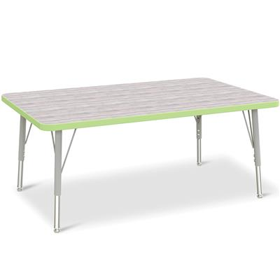 "Berries Adjustable Table, 30"" x 48"", Rectangle, Driftwood with Key Lime, 15""-24"" High"