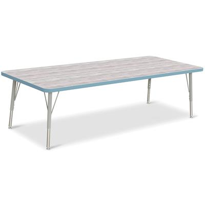 "Berries Adjustable Table, 30"" x 72"", Rectangle, Driftwood with Coastal Blue, 15""-24"" High"