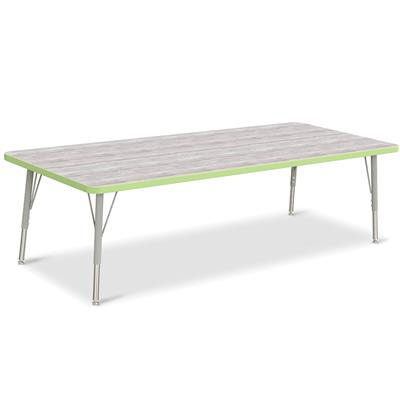 "Berries Adjustable Table, 30"" x 72"", Rectangle, Driftwood with Key Lime, 15""-24"" High"