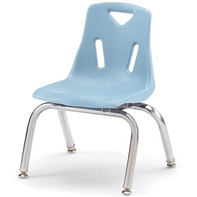 "Berries Stacking Chair, Chrome Legs, 10"" Seat Height, Coastal Blue"