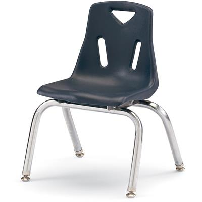 "Berries Stacking Chair, Chrome Legs, 12"" Seat Height, Navy"