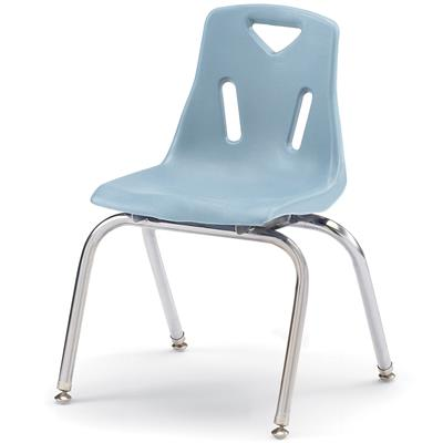 "Berries Stacking Chair, Chrome Legs, 16"" Seat Height, Coastal Blue"