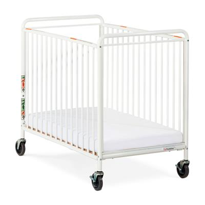 Compact Steel Clearview Mobile Crib, White