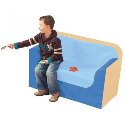 "Preschool Soft Couch, 10"", Beige/Blue"