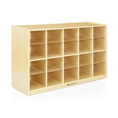20-Compartment Storage Unit without Baskets, Birch