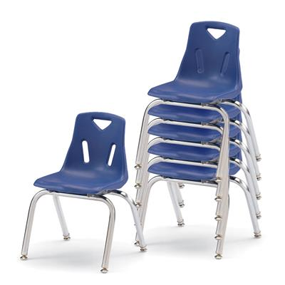 "Berries Stacking Chairs, 14"" Seat Height, Navy, Set of 6"