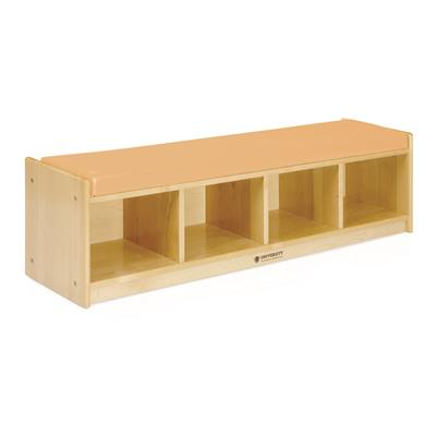 4-Section Bench Cubby with Cushion, Natural