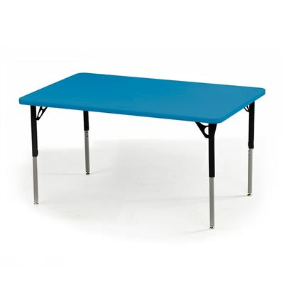 "Aktivity Adjustable Table, 30"" x 48"", Rectangle, Blueberry with Black, 17""-25"" High"