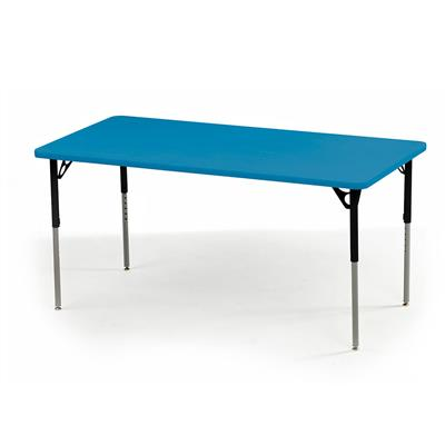 "Aktivity Adjustable Table, 30"" x 72"", Rectangle, Blueberry with Black, 17""-25"" High"