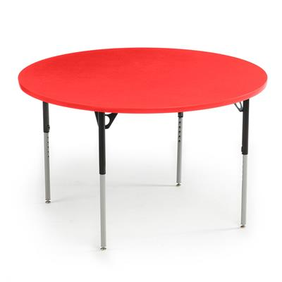 "Aktivity Adjustable Table, 48"", Round, Pomegranate with Black, 17""-25"" High"