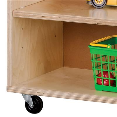 Low Adjustable Mobile Shelving Storage Unit, Birch