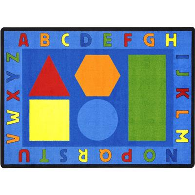 "Alphabet Shapes Rug, 7'8"" x 10'9"", Rectangle, Primary"