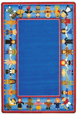 "Children of Many Cultures Rug, 7'8"" x 10'9"", Rectangle, Blue"