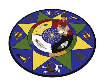 "Medicine Wheel/7 Teachings Rug, 5'4"", Round"
