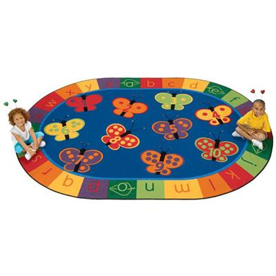 KIDSoft 123 ABC Butterfly Fun Rug, 8' x 12', Oval