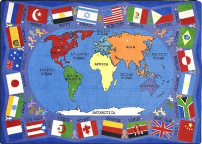 "Flags of The World Rug, 7'8"" x 10'9"", Rectangle, Primary"