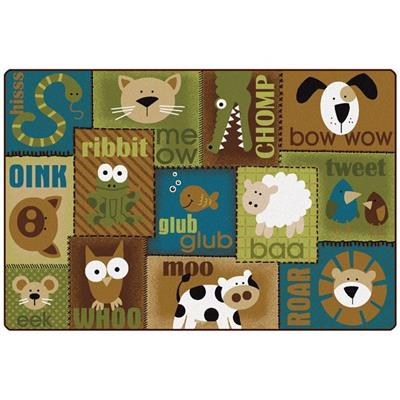 KIDSoft Animal Sounds Rug, 6' x 9', Natural, Rectangle