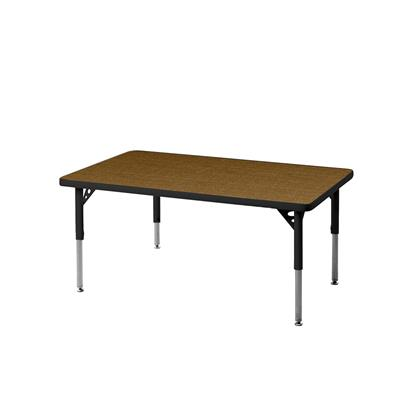 "Aktivity Adjustable Table, 24"" x 48"", Rectangle, Golden Oak with Black, 17""-25"" High"