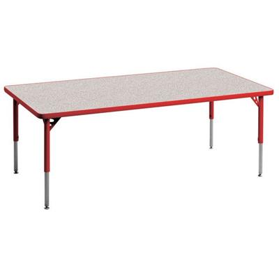 "Aktivity Adjustable Table, 30"" x 72"", Rectangle, Grey with Red, 17""-25"" High"