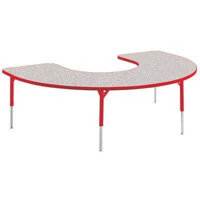 "Aktivity Adjustable Table, 36"" x 60"", C-Shape, Grey with Red, 17""-25"" High"