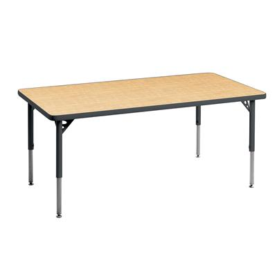 "Aktivity Adjustable Table, 24"" x 60"", Rectangle, Maple with Grey, 17""-25"" High"