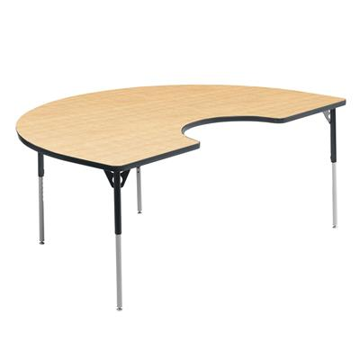 "Aktivity Adjustable Table, 36"" x 60"", Kidney, Maple with Grey, 17""-25"" High"
