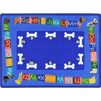 "Doggone Good Alphabet Rug, 5'4"" x 7'8"", Rectangle, Primary"
