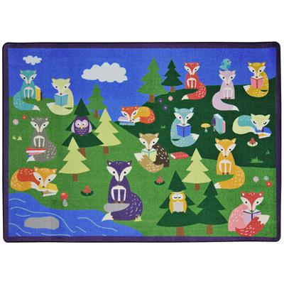 "Foxy Readers Rug, 7'8"" x 10'9"", Rectangle, Primary"
