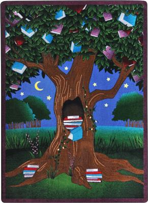 "Reading Tree Rug, 7'8"" x 10'9"", Rectangle, Primary"