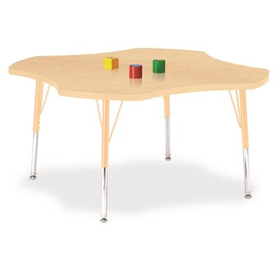 "Berries Adjustable Table, 48"", Four Leaf, Maple with Maple, 15""-24"" High"
