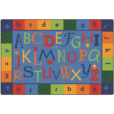 KIDSoft Alphabet Around Literacy Rug, 6' x 9', Rectangle