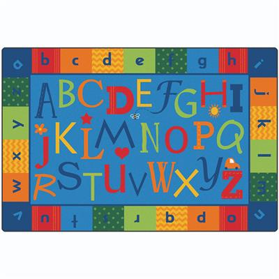 KIDSoft Alphabet Around Literacy Rug, 8' x 12', Rectangle