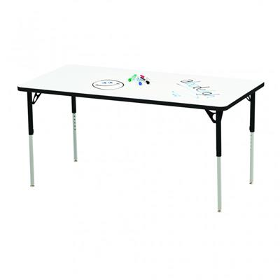 "Aktivity Adjustable Marker Board Table, 30"" x 60"", Rectangle, White with Black, 17""-25"" High"