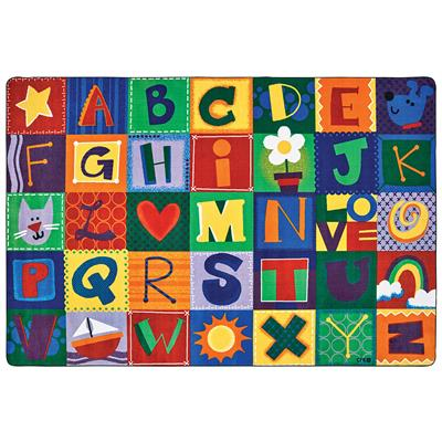 KIDSoft Toddler Alphabet Blocks, 8' x 12', Rectangle, Primary