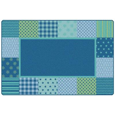 KIDSoft Pattern Blocks Carpet, 8' x 12', Rectangle, Blue